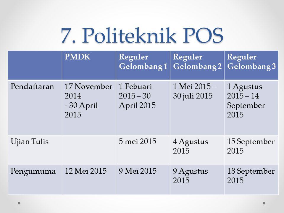 7. Politeknik POS PMDKReguler Gelombang 1 Reguler Gelombang 2 Reguler Gelombang 3 Pendaftaran17 November 2014 - 30 April 2015 1 Febuari 2015 – 30 Apri