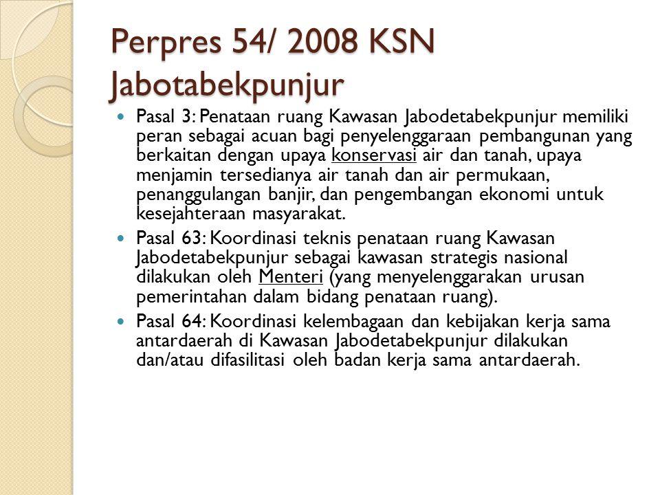 Perpres 54/ 2008 KSN Jabotabekpunjur Pasal 3: Penataan ruang Kawasan Jabodetabekpunjur memiliki peran sebagai acuan bagi penyelenggaraan pembangunan y