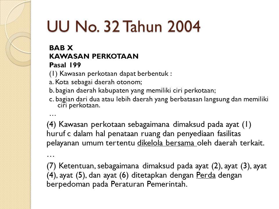 UU No. 32 Tahun 2004 BAB X KAWASAN PERKOTAAN Pasal 199 (1) Kawasan perkotaan dapat berbentuk : a. Kota sebagai daerah otonom; b. bagian daerah kabupat