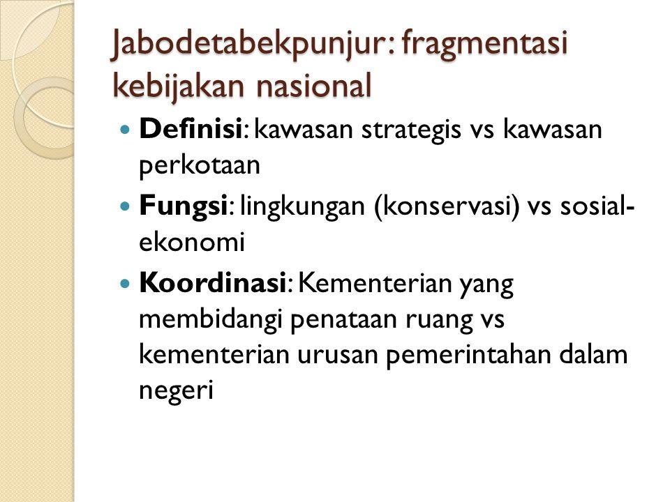 Jabodetabekpunjur: fragmentasi kebijakan nasional Definisi: kawasan strategis vs kawasan perkotaan Fungsi: lingkungan (konservasi) vs sosial- ekonomi