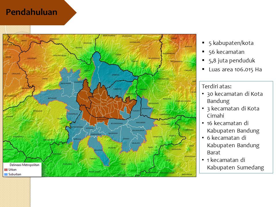  5 kabupaten/kota  56 kecamatan  5,8 juta penduduk  Luas area 106.015 Ha Terdiri atas: 30 kecamatan di Kota Bandung 3 kecamatan di Kota Cimahi 16