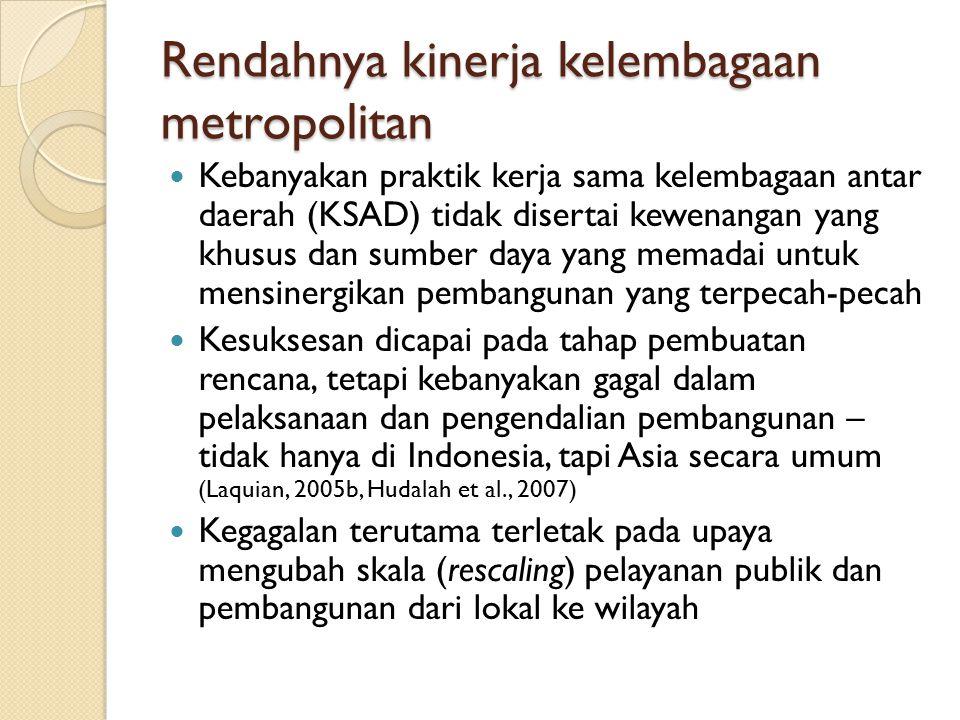 Kondisi KSAD Metropolitan (Hudalah et al, 2013) RegionMun./districtIssuesInstitutionCondition Mebidangro (Greater Medan) Medan, Binjai, Deli Serdang, Karo Transportation, ecologyBKSP MebidangroFormally, this institution still exists but it does not function properly.