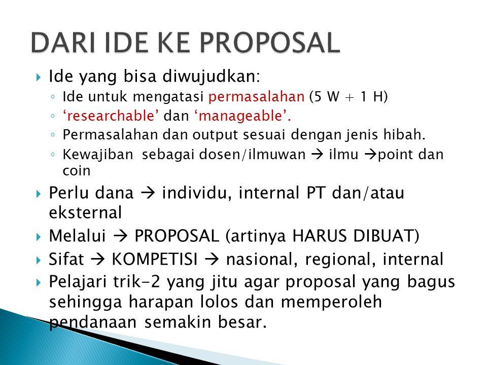  Ide yang bisa diwujudkan: ◦ Ide untuk mengatasi permasalahan (5 W + 1 H) ◦ 'researchable' dan 'manageable'.