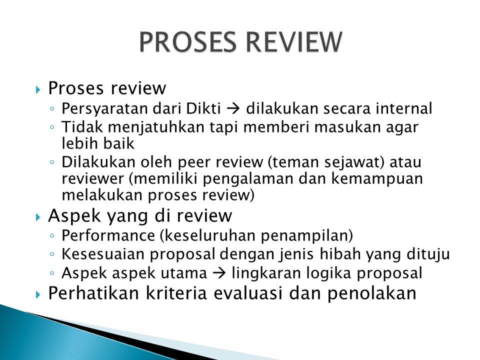  Proses review ◦ Persyaratan dari Dikti  dilakukan secara internal ◦ Tidak menjatuhkan tapi memberi masukan agar lebih baik ◦ Dilakukan oleh peer re