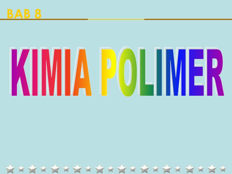 Latin: Poli = Banyak Meros = Bagian Molekul kecil Molekul raksasa Monomer (monos = satu) Polimer Contoh POLIMER Kantong plastik Piringan hitam paralon Panci anti lengket Politetra Fluoro Etilena (TEFLON) Polivinil Klorida (PVC) Polietilena