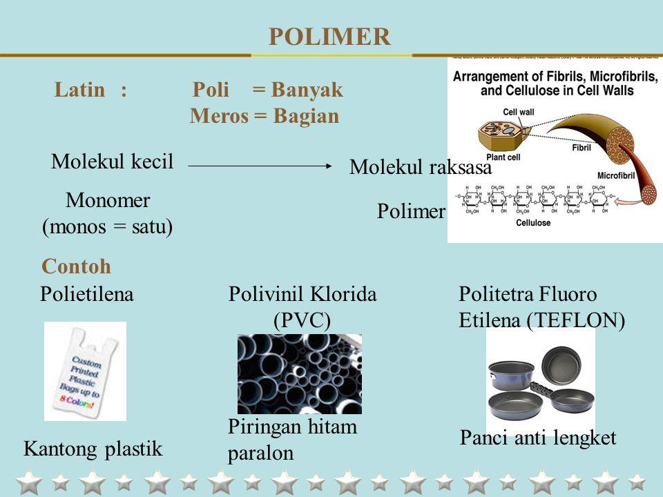 Sumber : Alami : Pati, Selulosa, Protein, Lipid, Asam Nukleat, dsb Sintetik : Polietilena, Polivinil Klorida, dsb Cara Pembuatan Polimer Adisi Polimer Kondensasi Reaksi terhadap Kalor Polimer Termoplastik Bila dipanaskan melunak dan dapat dibentuk dengan bantuan tekanan Polimer Termoset Dapat dilebur dalam pembuatannya tapi menjadi keras s elamanya tidak melunak dan tidak dapat dicetak ulang PENGGOLONGAN POLIMER