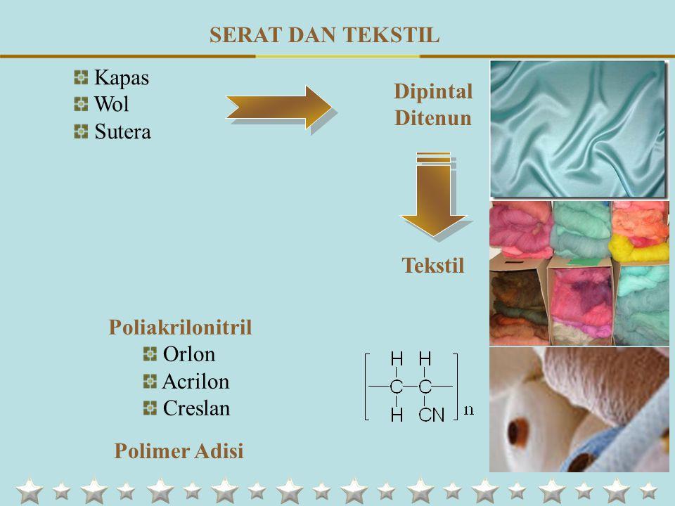 SERAT DAN TEKSTIL Dipintal Ditenun Kapas Wol Sutera Tekstil Poliakrilonitril Orlon Acrilon Creslan Polimer Adisi