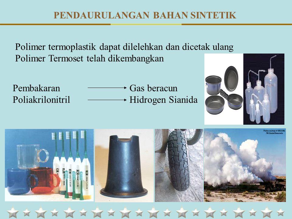 Polimer termoplastik dapat dilelehkan dan dicetak ulang Polimer Termoset telah dikembangkan PembakaranGas beracun PoliakrilonitrilHidrogen Sianida PENDAURULANGAN BAHAN SINTETIK