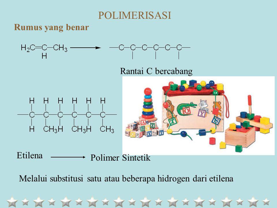 Rumus yang benar Rantai C bercabang Etilena Polimer Sintetik Melalui substitusi satu atau beberapa hidrogen dari etilena POLIMERISASI