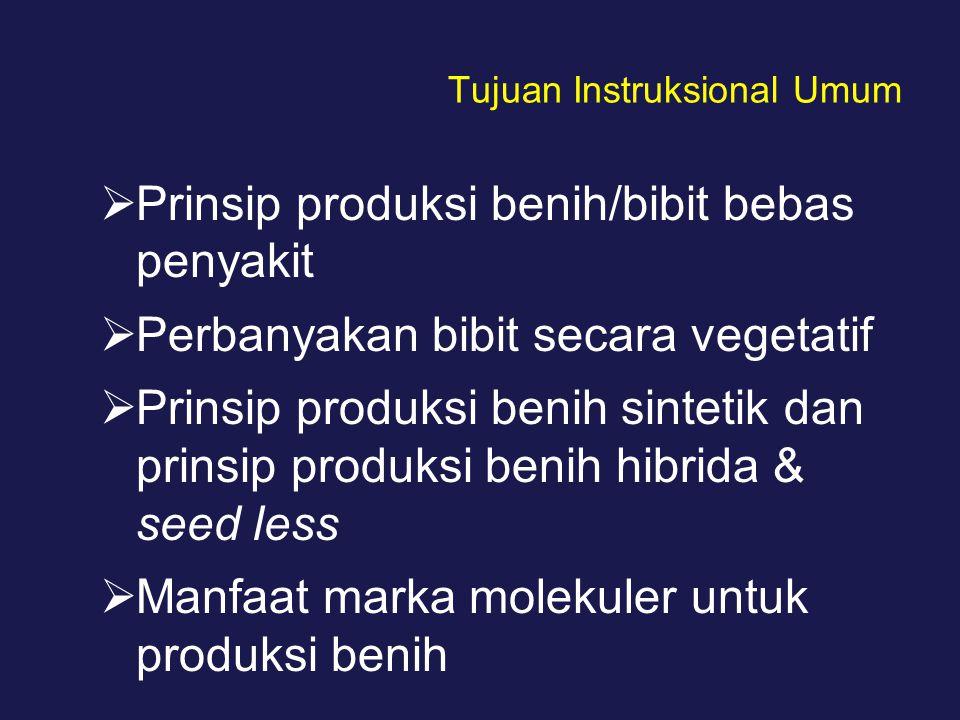 Tujuan Instruksional Umum  Prinsip produksi benih/bibit bebas penyakit  Perbanyakan bibit secara vegetatif  Prinsip produksi benih sintetik dan pri