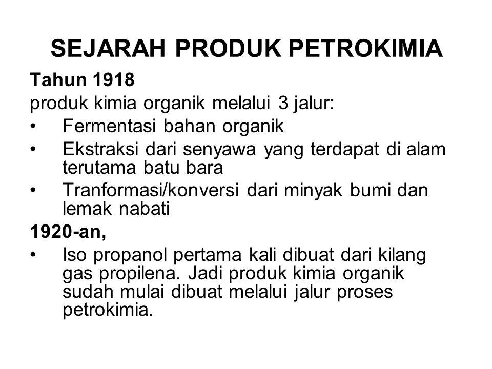 SEJARAH PRODUK PETROKIMIA Tahun 1918 produk kimia organik melalui 3 jalur: Fermentasi bahan organik Ekstraksi dari senyawa yang terdapat di alam terut