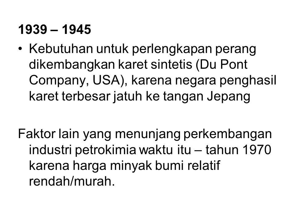 1939 – 1945 Kebutuhan untuk perlengkapan perang dikembangkan karet sintetis (Du Pont Company, USA), karena negara penghasil karet terbesar jatuh ke ta