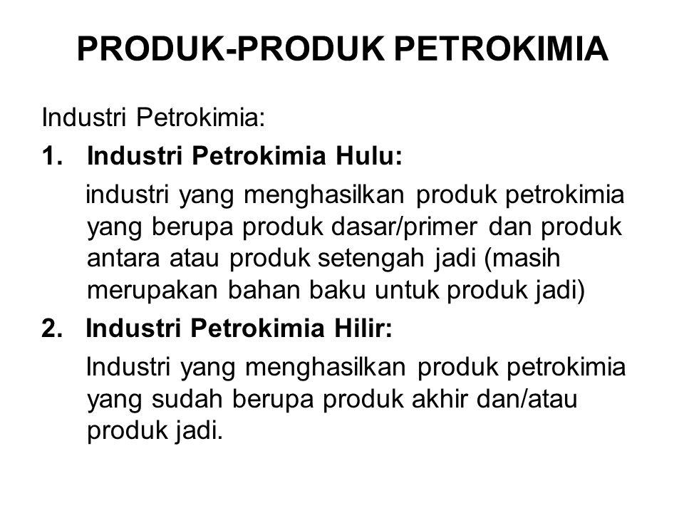 PRODUK-PRODUK PETROKIMIA Industri Petrokimia: 1.Industri Petrokimia Hulu: industri yang menghasilkan produk petrokimia yang berupa produk dasar/primer