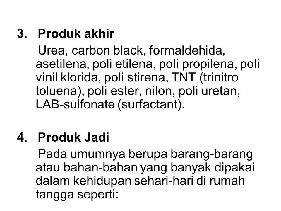 3. Produk akhir Urea, carbon black, formaldehida, asetilena, poli etilena, poli propilena, poli vinil klorida, poli stirena, TNT (trinitro toluena), p