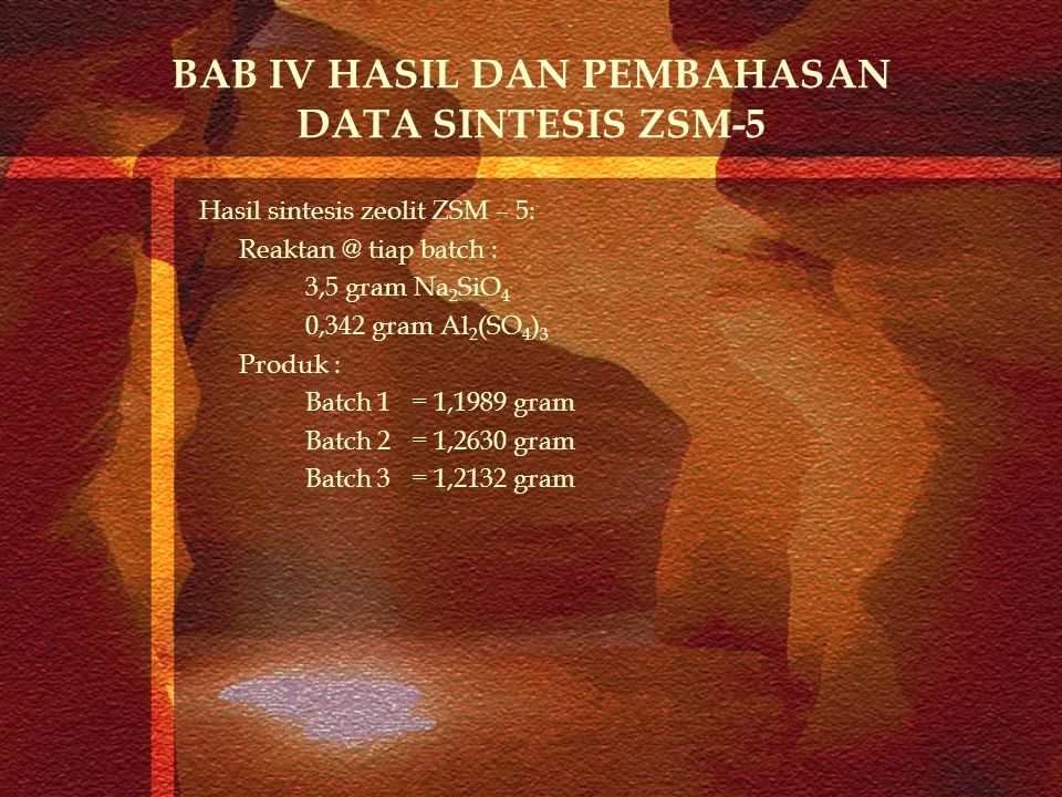 BAB IV HASIL DAN PEMBAHASAN DATA SINTESIS ZSM-5 Hasil sintesis zeolit ZSM – 5: Reaktan @ tiap batch : 3,5 gram Na 2 SiO 4 0,342 gram Al 2 (SO 4 ) 3 Pr