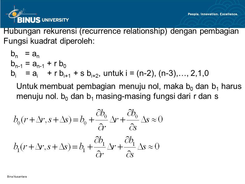 Bina Nusantara Hubungan rekurensi (recurrence relationship) dengan pembagian Fungsi kuadrat diperoleh: b n = a n b n-1 = a n-1 + r b 0 b i = a i + r b