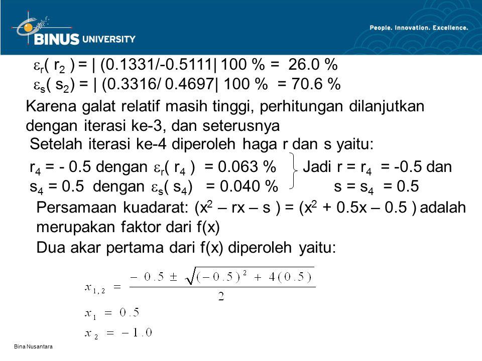Bina Nusantara  r ( r 2 ) = | (0.1331/-0.5111| 100 % = 26.0 %  s ( s 2 ) = | (0.3316/ 0.4697| 100 % = 70.6 % Karena galat relatif masih tinggi, perh