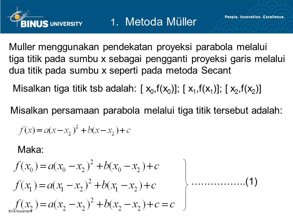 Bina Nusantara Muller menggunakan pendekatan proyeksi parabola melalui tiga titik pada sumbu x sebagai pengganti proyeksi garis melalui dua titik pada
