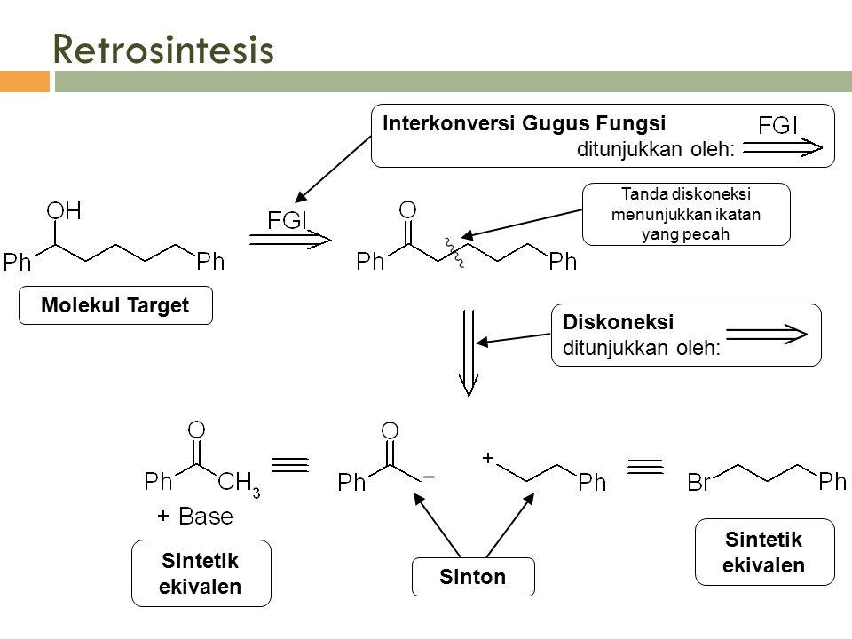 Retrosintesis Interkonversi Gugus Fungsi ditunjukkan oleh: Diskoneksi ditunjukkan oleh: Molekul Target Sinton Sintetik ekivalen Tanda diskoneksi menun