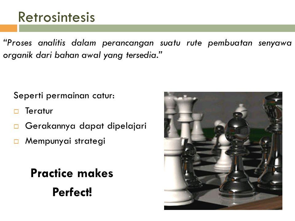 """Retrosintesis """"Proses analitis dalam perancangan suatu rute pembuatan senyawa organik dari bahan awal yang tersedia."""" Seperti permainan catur:  Terat"""