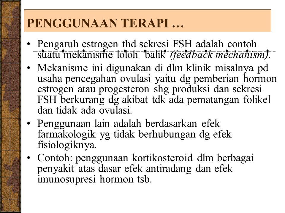 PENGGUNAAN TERAPI … Pengaruh estrogen thd sekresi FSH adalah contoh suatu mekanisme loloh balik (feedback mechanism). Mekanisme ini digunakan di dlm k