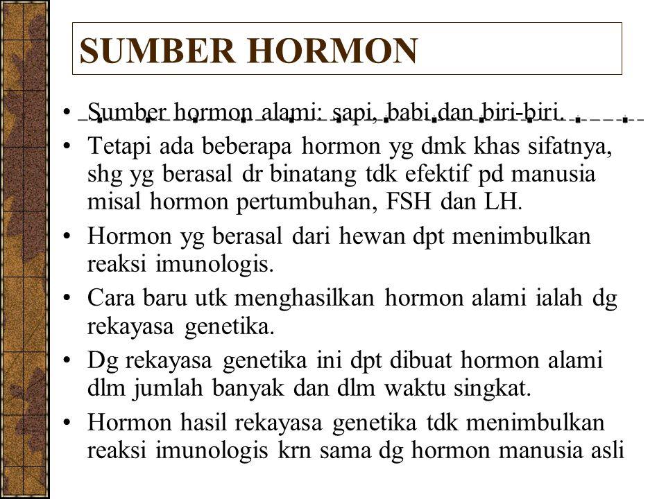 SUMBER HORMON Sumber hormon alami: sapi, babi dan biri-biri. Tetapi ada beberapa hormon yg dmk khas sifatnya, shg yg berasal dr binatang tdk efektif p