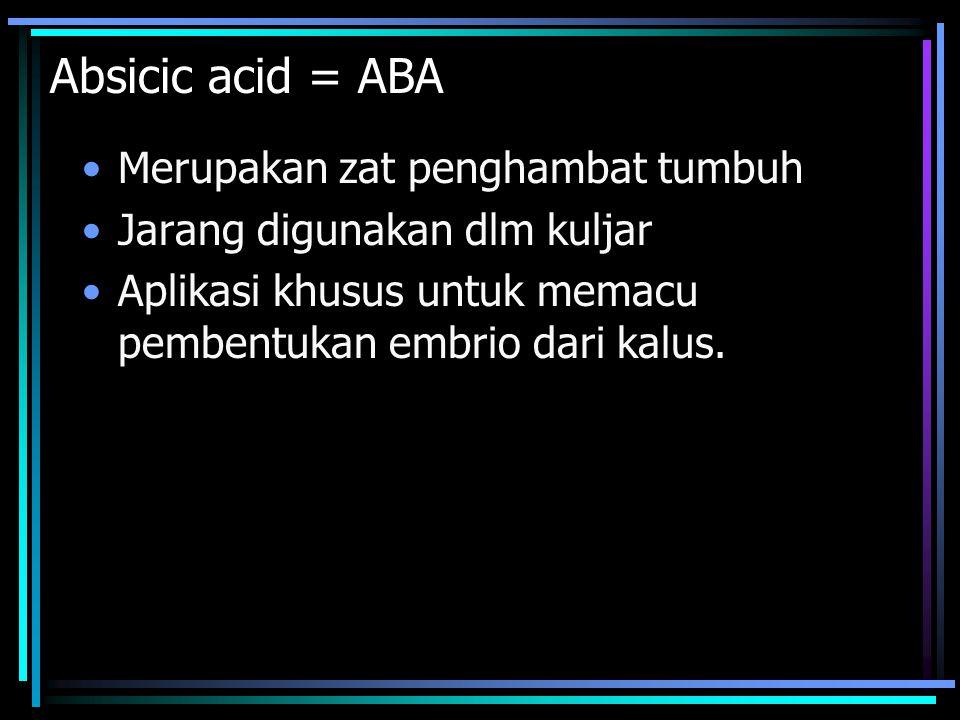 Absicic acid = ABA Merupakan zat penghambat tumbuh Jarang digunakan dlm kuljar Aplikasi khusus untuk memacu pembentukan embrio dari kalus.