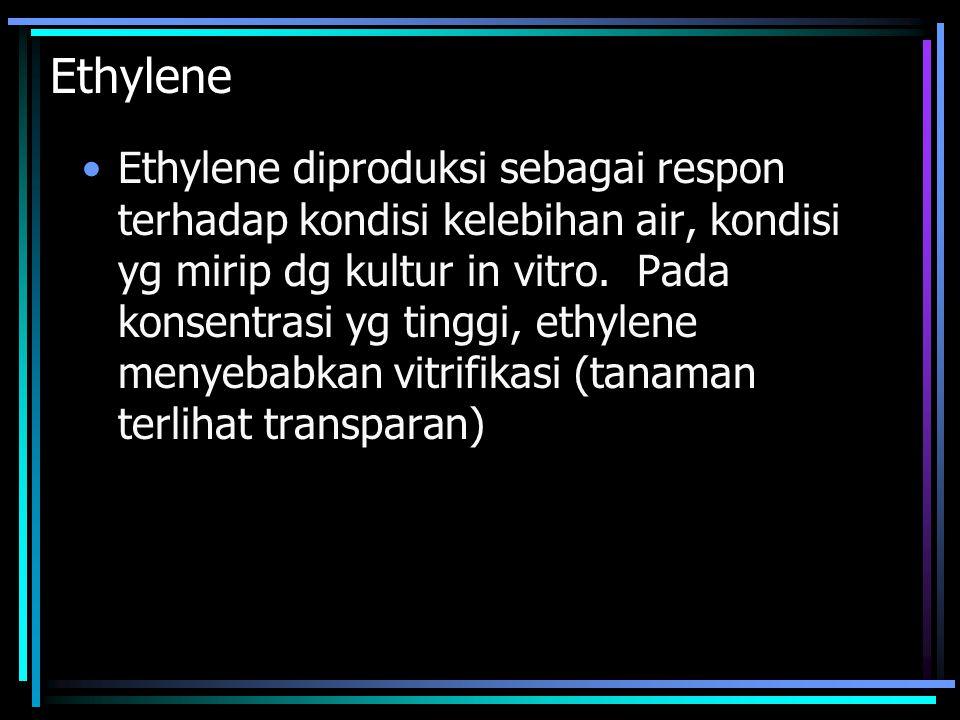 Ethylene Ethylene diproduksi sebagai respon terhadap kondisi kelebihan air, kondisi yg mirip dg kultur in vitro.
