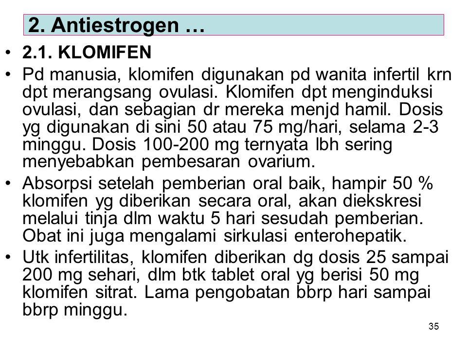 35 2.1. KLOMIFEN Pd manusia, klomifen digunakan pd wanita infertil krn dpt merangsang ovulasi. Klomifen dpt menginduksi ovulasi, dan sebagian dr merek