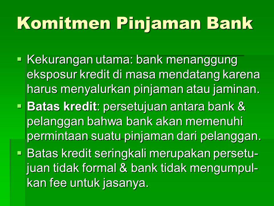 Komitmen Pinjaman Bank  Kekurangan utama: bank menanggung eksposur kredit di masa mendatang karena harus menyalurkan pinjaman atau jaminan.