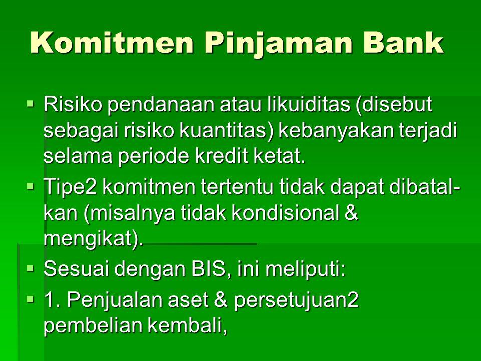 Komitmen Pinjaman Bank  Risiko pendanaan atau likuiditas (disebut sebagai risiko kuantitas) kebanyakan terjadi selama periode kredit ketat.