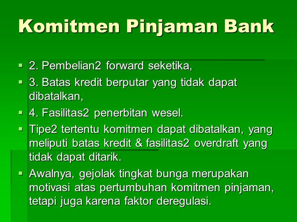 Komitmen Pinjaman Bank  2.Pembelian2 forward seketika,  3.