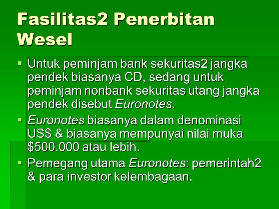 Fasilitas2 Penerbitan Wesel  Untuk peminjam bank sekuritas2 jangka pendek biasanya CD, sedang untuk peminjam nonbank sekuritas utang jangka pendek disebut Euronotes.