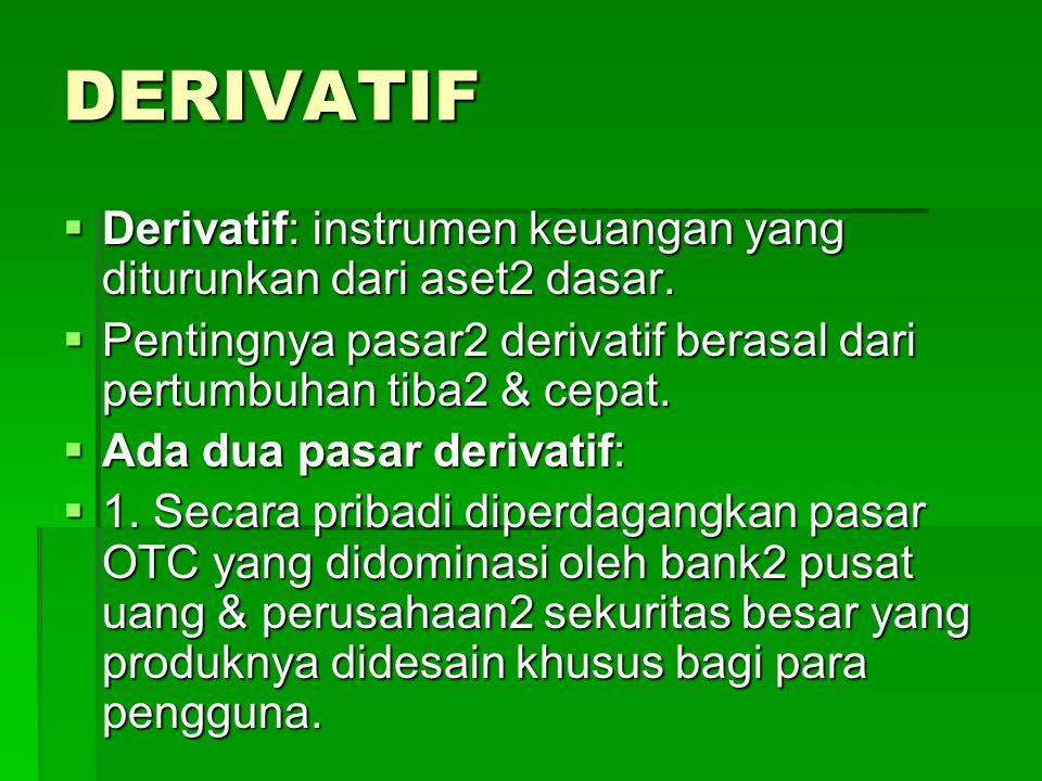DERIVATIF  Derivatif: instrumen keuangan yang diturunkan dari aset2 dasar.