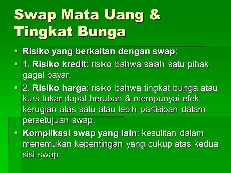 Swap Mata Uang & Tingkat Bunga  Risiko yang berkaitan dengan swap:  1.