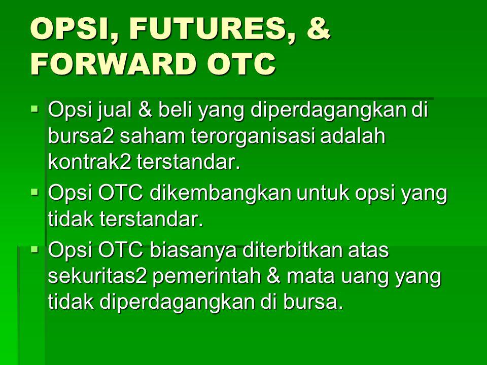 OPSI, FUTURES, & FORWARD OTC  Opsi jual & beli yang diperdagangkan di bursa2 saham terorganisasi adalah kontrak2 terstandar.