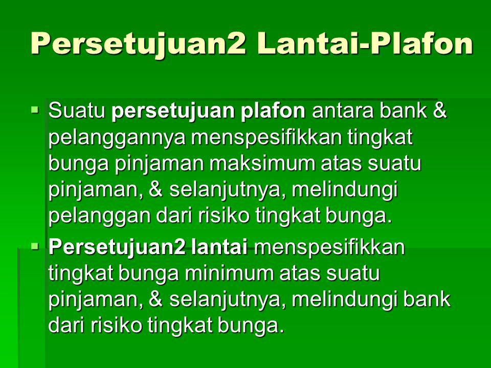 Persetujuan2 Lantai-Plafon  Suatu persetujuan plafon antara bank & pelanggannya menspesifikkan tingkat bunga pinjaman maksimum atas suatu pinjaman, & selanjutnya, melindungi pelanggan dari risiko tingkat bunga.