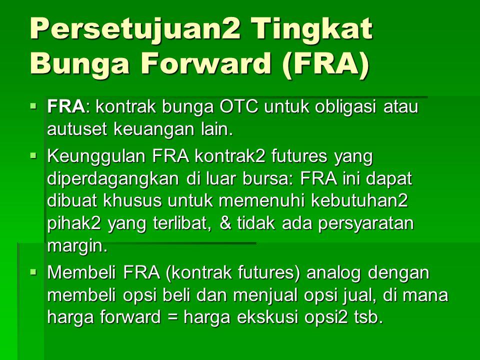 Persetujuan2 Tingkat Bunga Forward (FRA)  FRA: kontrak bunga OTC untuk obligasi atau autuset keuangan lain.