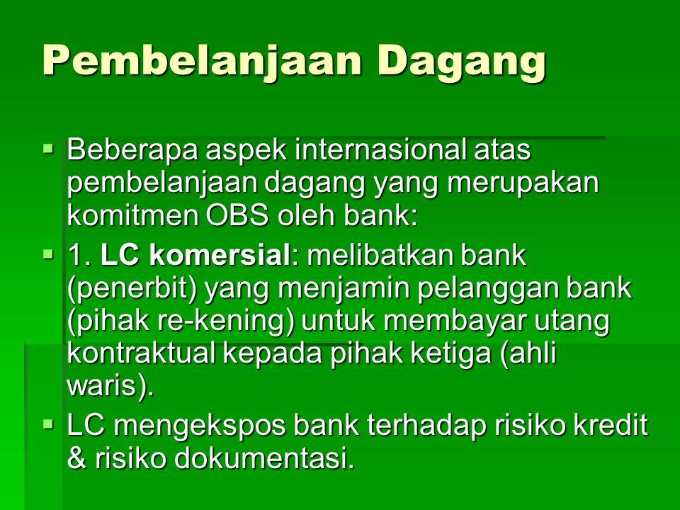 Pembelanjaan Dagang  Beberapa aspek internasional atas pembelanjaan dagang yang merupakan komitmen OBS oleh bank:  1.