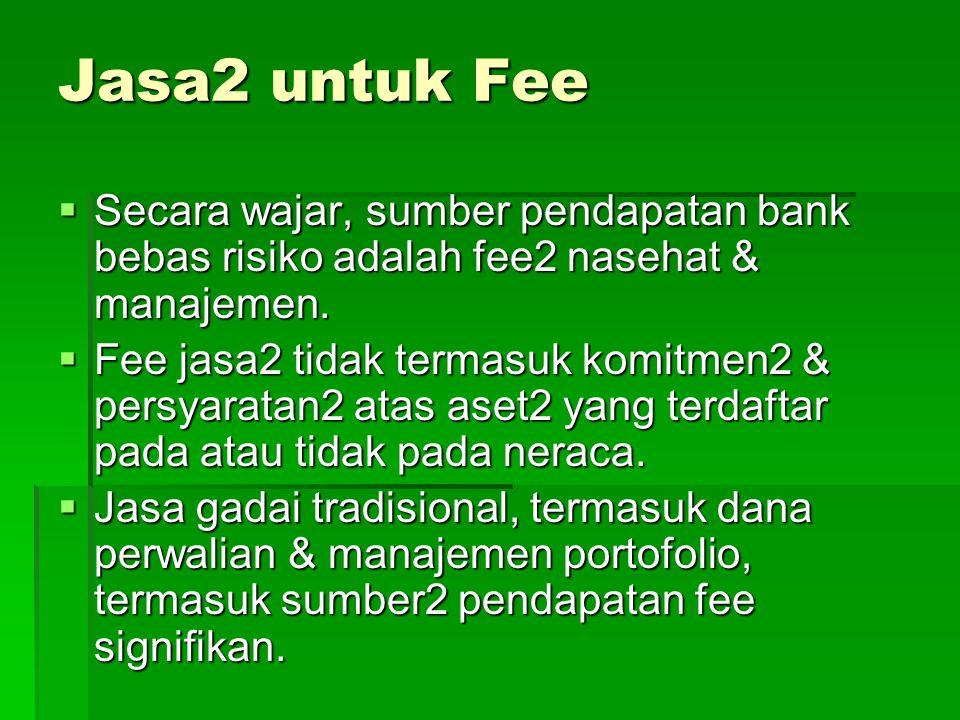 Jasa2 untuk Fee  Secara wajar, sumber pendapatan bank bebas risiko adalah fee2 nasehat & manajemen.