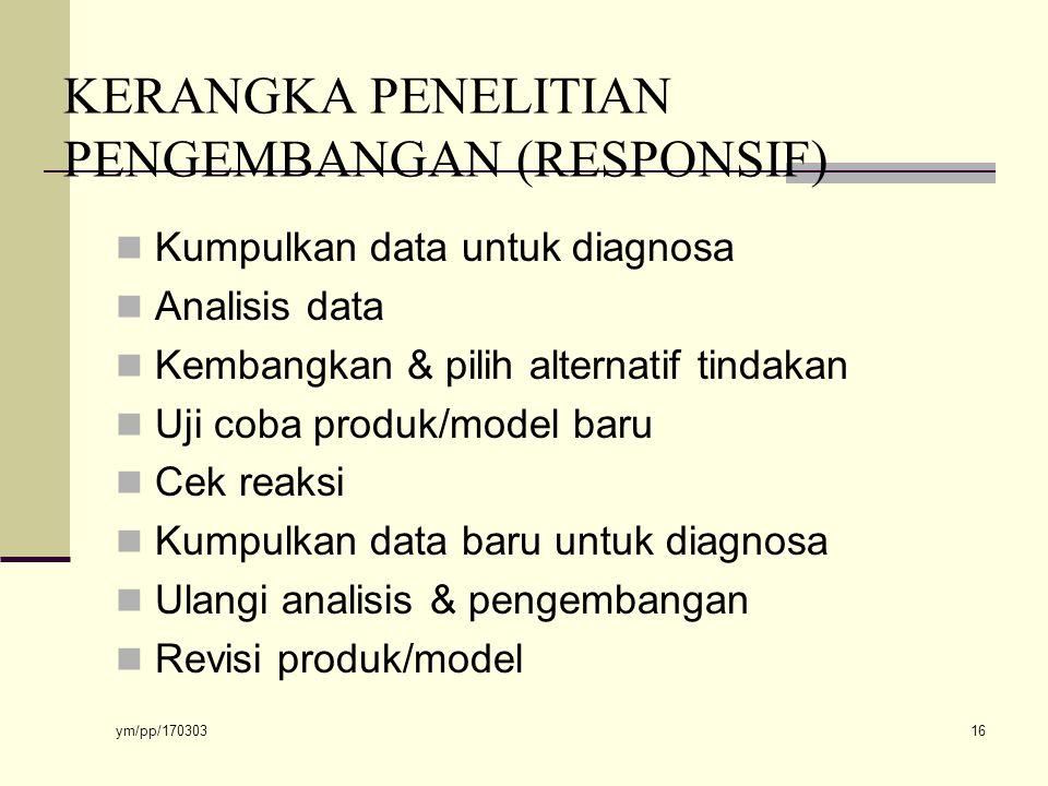 ym/pp/170303 16 KERANGKA PENELITIAN PENGEMBANGAN (RESPONSIF) Kumpulkan data untuk diagnosa Analisis data Kembangkan & pilih alternatif tindakan Uji coba produk/model baru Cek reaksi Kumpulkan data baru untuk diagnosa Ulangi analisis & pengembangan Revisi produk/model