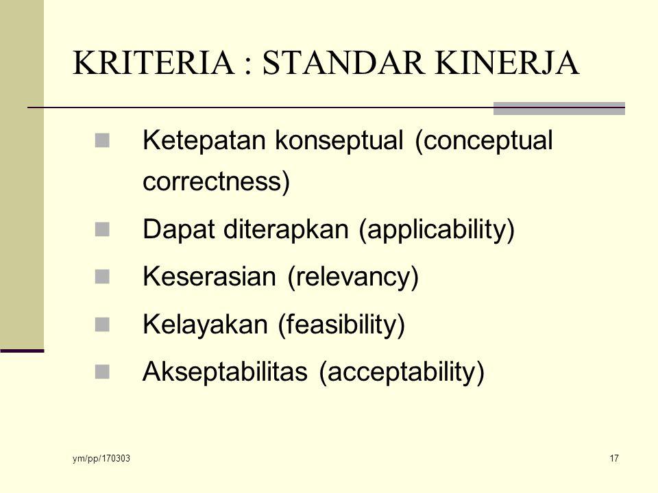 ym/pp/170303 17 KRITERIA : STANDAR KINERJA Ketepatan konseptual (conceptual correctness) Dapat diterapkan (applicability) Keserasian (relevancy) Kelayakan (feasibility) Akseptabilitas (acceptability)