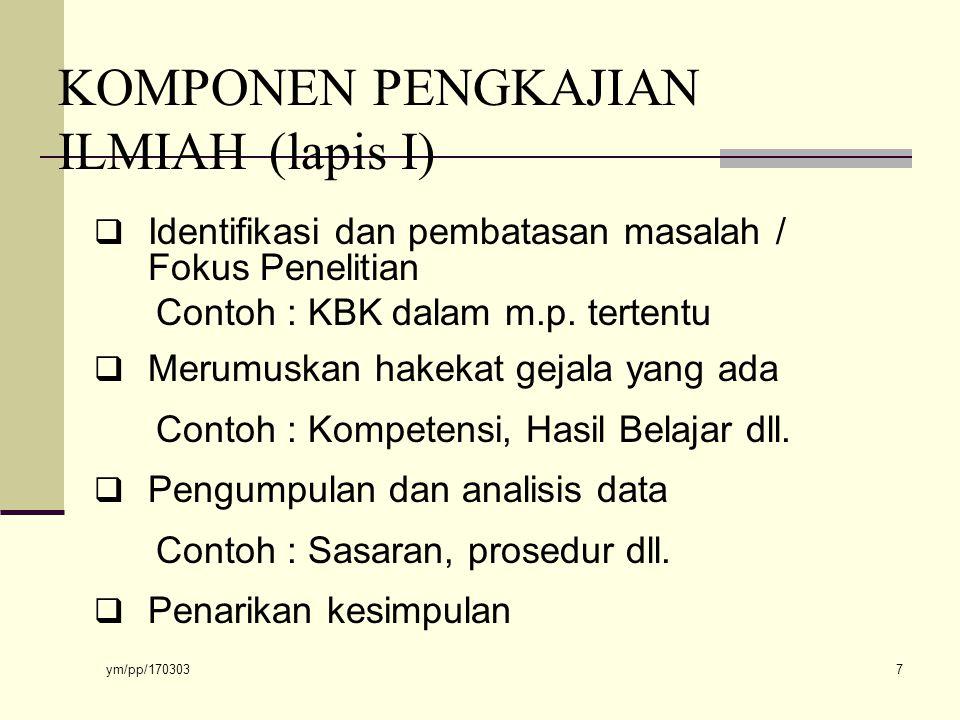 ym/pp/170303 7 KOMPONEN PENGKAJIAN ILMIAH (lapis I)  Identifikasi dan pembatasan masalah / Fokus Penelitian Contoh : KBK dalam m.p.