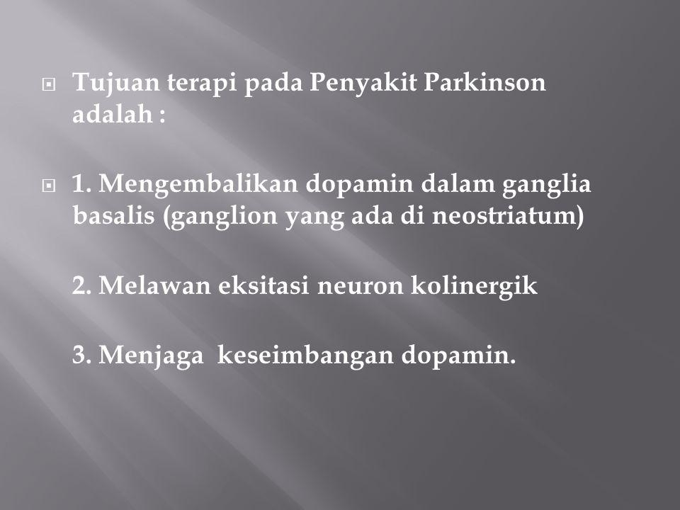  Tujuan terapi pada Penyakit Parkinson adalah :  1. Mengembalikan dopamin dalam ganglia basalis (ganglion yang ada di neostriatum) 2. Melawan eksita