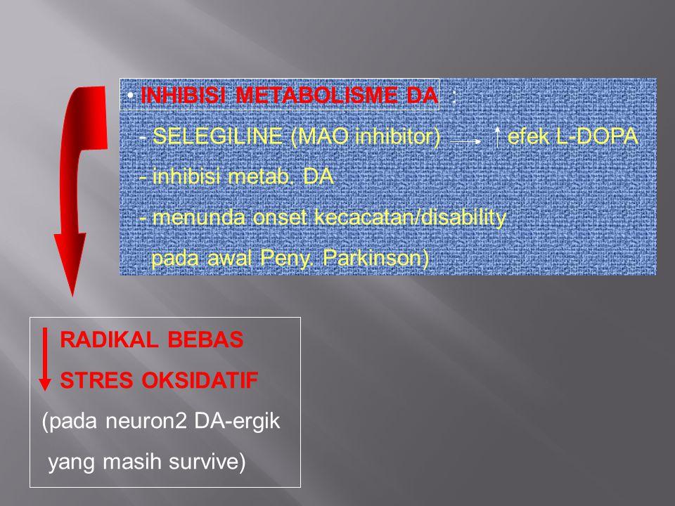 INHIBISI METABOLISME DA : - SELEGILINE (MAO inhibitor) efek L-DOPA - inhibisi metab. DA - menunda onset kecacatan/disability pada awal Peny. Parkinson