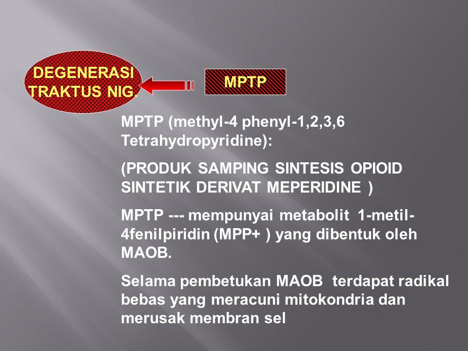DEGENERASI TRAKTUS NIG. MPTP (methyl-4 phenyl-1,2,3,6 Tetrahydropyridine): (PRODUK SAMPING SINTESIS OPIOID SINTETIK DERIVAT MEPERIDINE ) MPTP --- memp