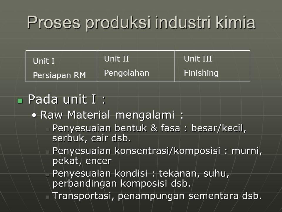 Proses produksi industri kimia Pada unit I : Pada unit I : Raw Material mengalami :Raw Material mengalami : Penyesuaian bentuk & fasa : besar/kecil, s