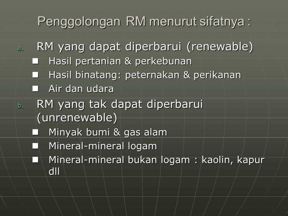 Penggolongan RM menurut sifatnya : a. RM yang dapat diperbarui (renewable) Hasil pertanian & perkebunan Hasil pertanian & perkebunan Hasil binatang: p
