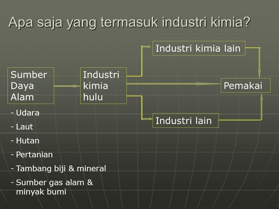 Apa saja yang termasuk industri kimia? Sumber Daya Alam Industri kimia hulu Industri kimia lain Industri lain Pemakai -Udara -Laut -Hutan -Pertanian -