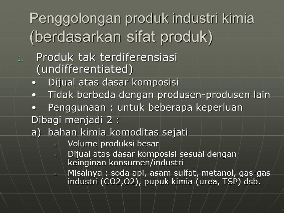 Penggolongan produk industri kimia (berdasarkan sifat produk) 1. Produk tak terdiferensiasi (undifferentiated) Dijual atas dasar komposisiDijual atas